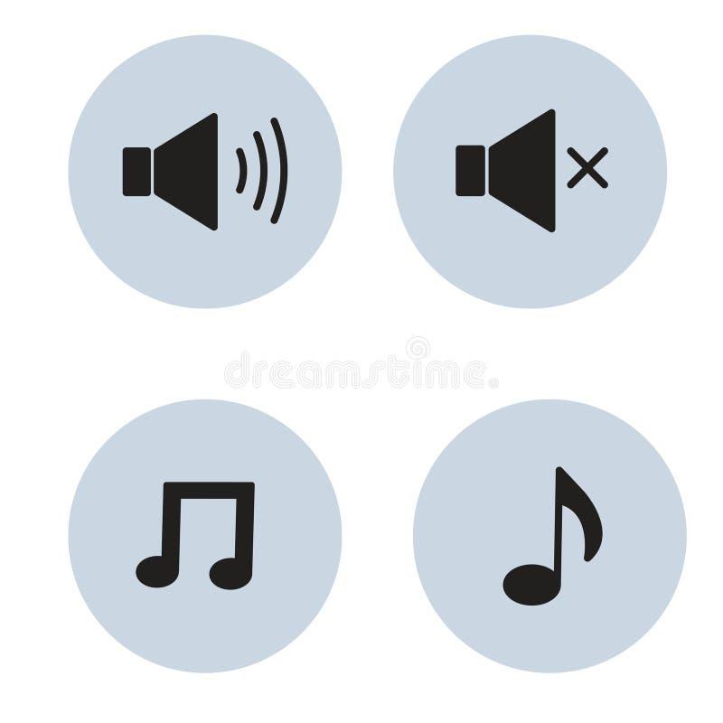 Icone volume sonoro e nota di musica di vettore illustrazione di stock