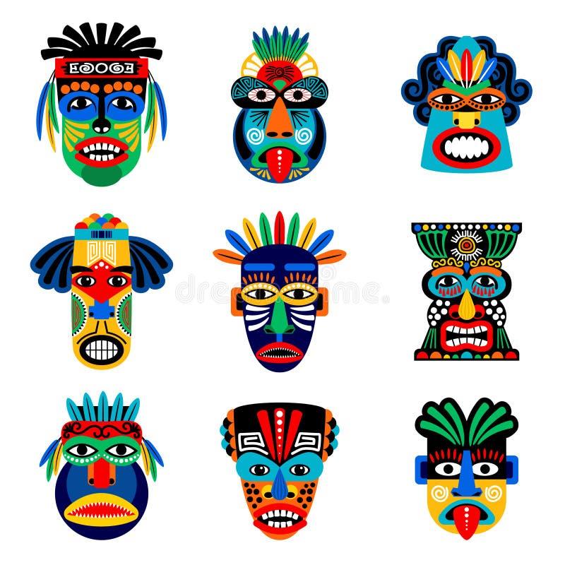 Icone zulù o azteche della maschera illustrazione di stock