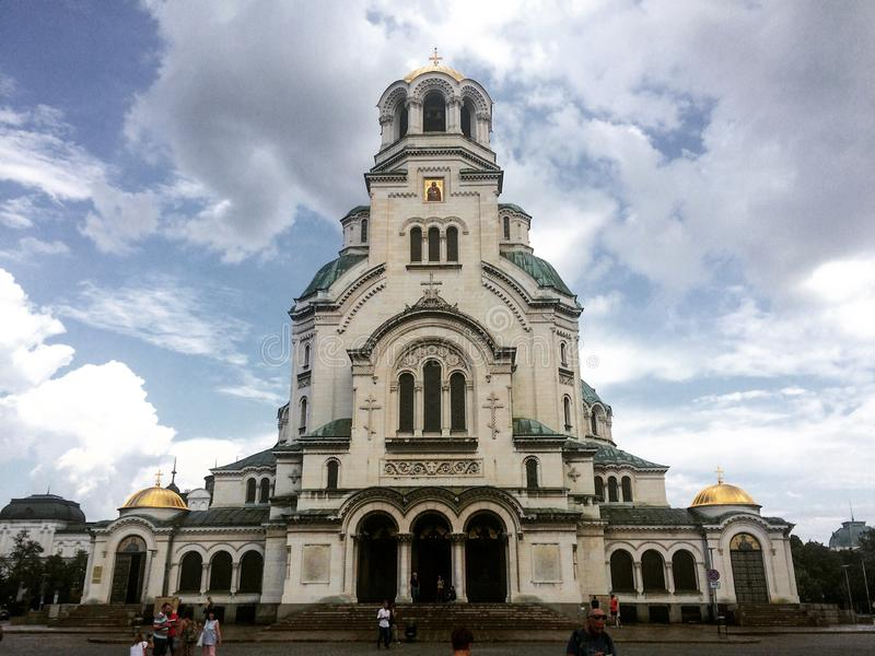 Aleksandr Nevski Cathedral, Sophia, Bulgaria. The iconic Aleksandr Nevski Cathedral in Sophia, Bulgaria, in a cloudy summer day royalty free stock photography