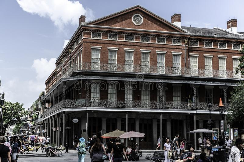 New Orleans French Quarter and its iconic balconies. The iconic balconies of the french quarter in New Orleans LA, make this street recognizable as much as the royalty free stock photos
