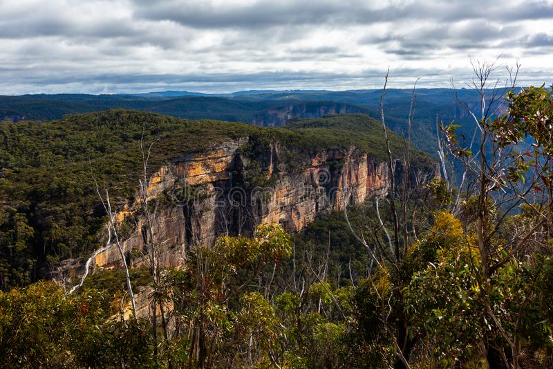 The iconic Baltzer lookout and Hanging Rock in Blackheath New So royalty free stock photography