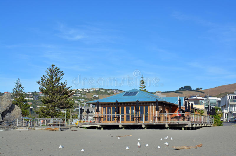Iconic Bar and Restaurant on Sumner Beach, Christchurch stock images