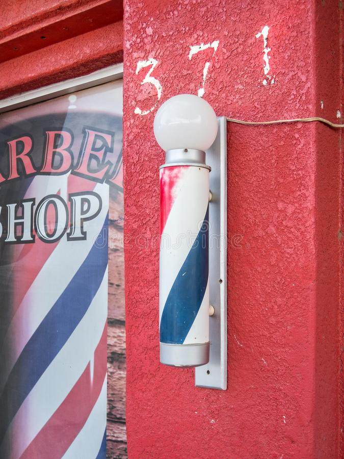 Iconic barber shop sign royalty free stock photo
