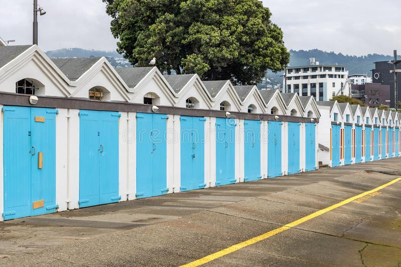 Iconic Blue Boat Sheds In Wellington New Zealand royalty free stock photo