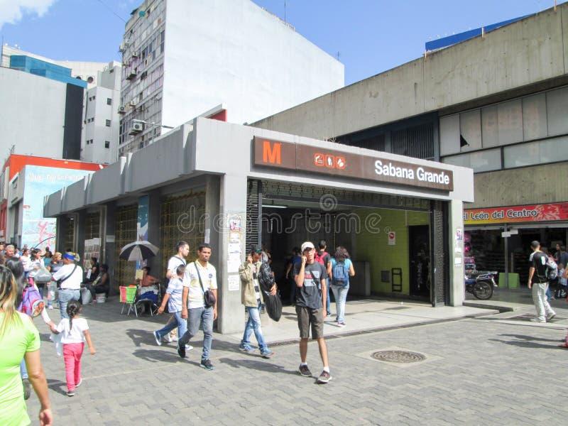 Iconic boulevard in the city of Caracas, Boulevard de Sabana Grande, where you can see the entrance of a Metro station, Caracas, V. Enezuela royalty free stock photography