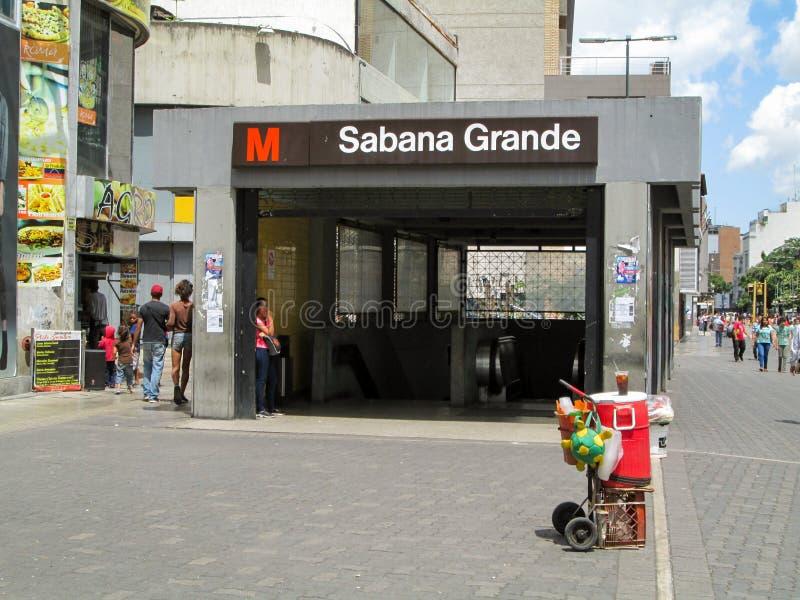 Iconic boulevard in the city of Caracas, Boulevard de Sabana Grande, where you can see the entrance of a Metro station, Caracas, V. Enezuela stock photo