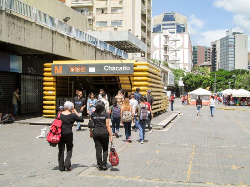 Iconic boulevard in the city of Caracas, Boulevard de Chacaito, where you can see the entrance of a Metro station, Caracas, Venezu. Ela royalty free stock photo