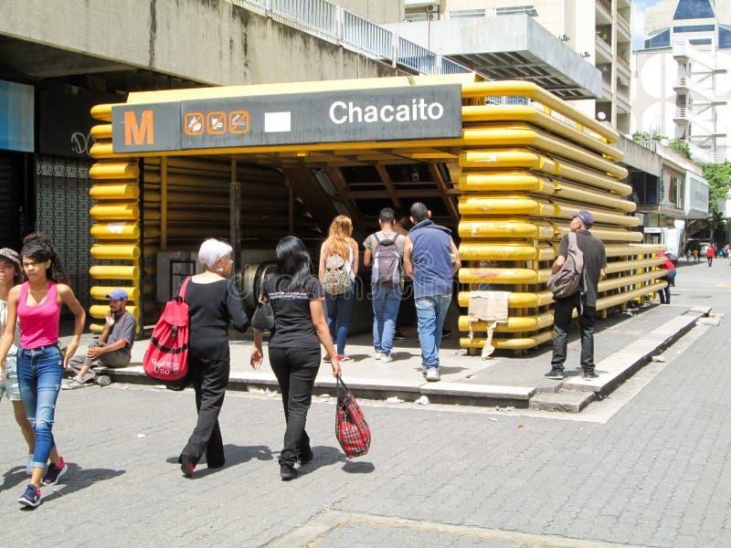 Iconic boulevard in the city of Caracas, Boulevard de Chacaito, where you can see the entrance of a Metro station, Caracas, Venezu. Ela stock photography