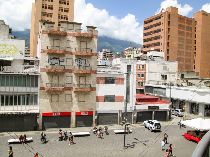 Iconic boulevard in the city of Caracas, Boulevard de Sabana Grande, from above, Caracas, Venezuela.  stock images