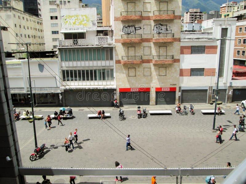 Iconic boulevard in the city of Caracas, Boulevard de Sabana Grande, from above, Caracas, Venezuela.  royalty free stock image