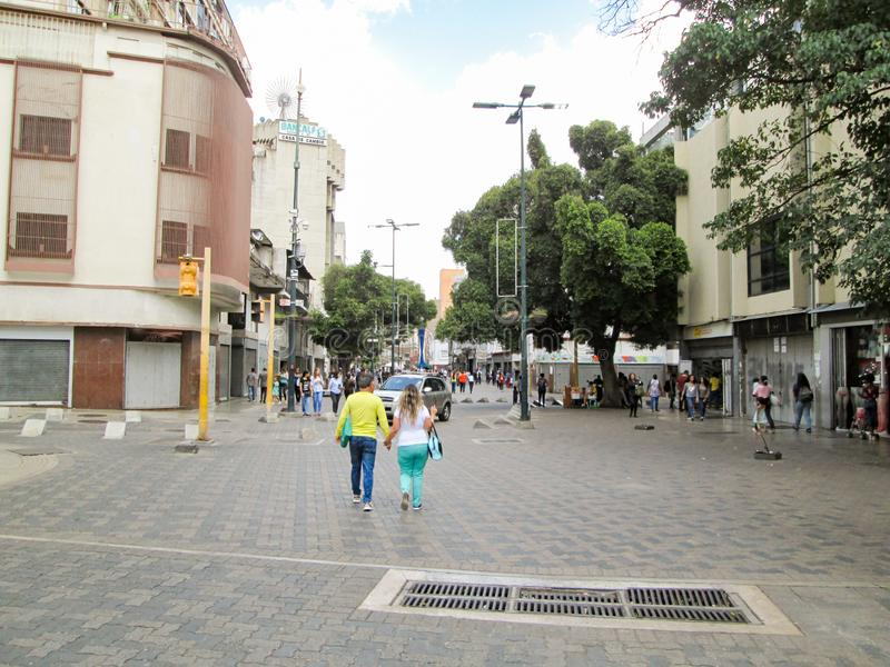 Iconic boulevard in the city of Caracas, Boulevard de Sabana Grande, where you can see some buildings, Caracas, Venezuela.  stock images