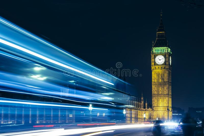 London Big Ben At Night Light Trails stock photos