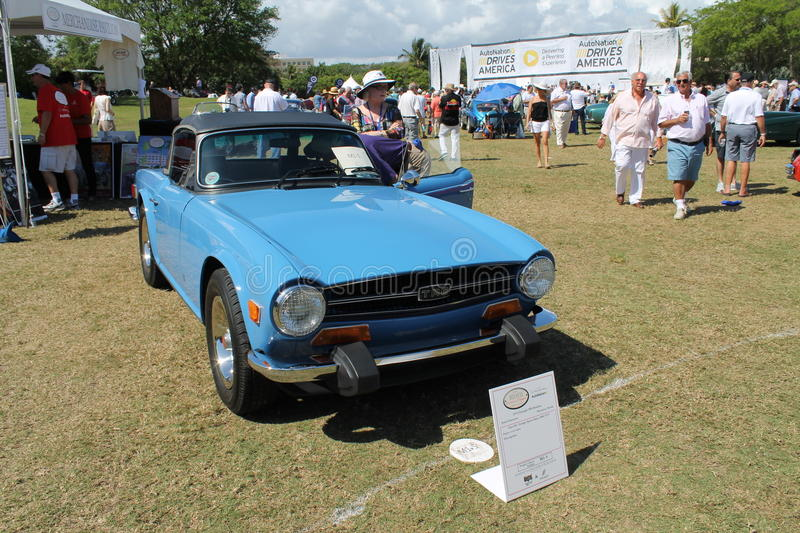 Iconic british roadster. Classic 1974 Triumph TR6 roadster at the 2014 Boca Raton Concours in south Florida stock photos