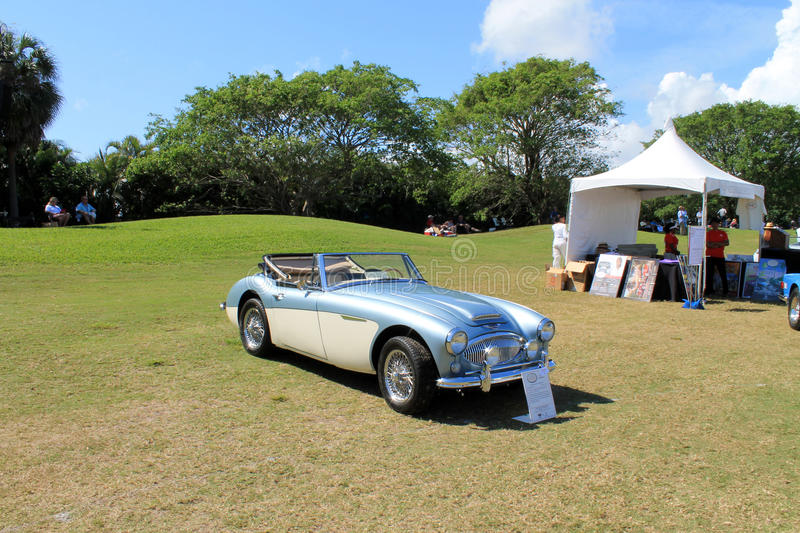 Iconic british roadster. Classic two-tone 1965 Austin Healey 3000 Mark III roadster at the 2014 Boca Raton Concours in south Florida royalty free stock photography