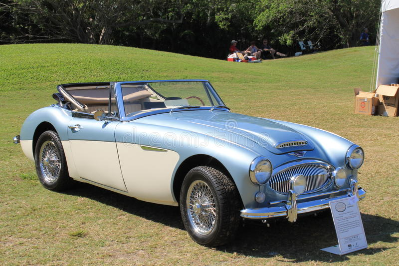 Iconic british roadster. Classic two-tone 1965 Austin Healey 3000 Mark III roadster at the 2014 Boca Raton Concours in south Florida royalty free stock photos