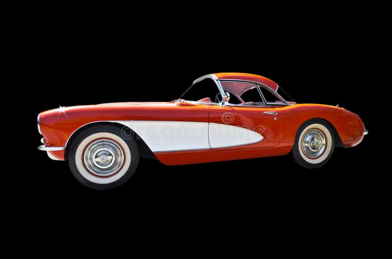 Early orange Chevlrolet corvette drivers side view. Iconic california early nineteen fifties beat nicks beach bums beebop American sports car. Ford motor company stock photos