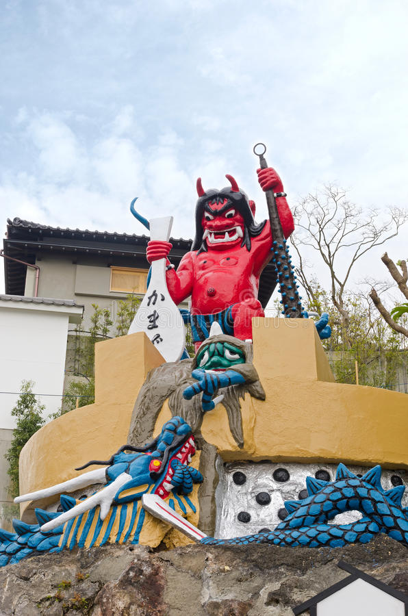 Iconic demon statue of Kamado Jigoku, Beppu. The iconic demon statue of the Kamado Jigoku attraction in Beppu. Or cooking pot hell royalty free stock image
