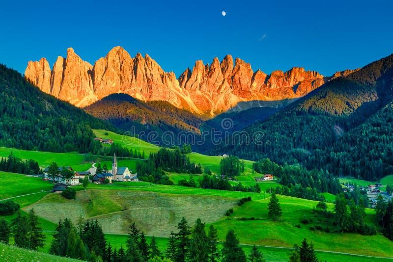 Iconic Dolomites mountain landscape in Santa Maddalena, Funes valley. Italy stock image