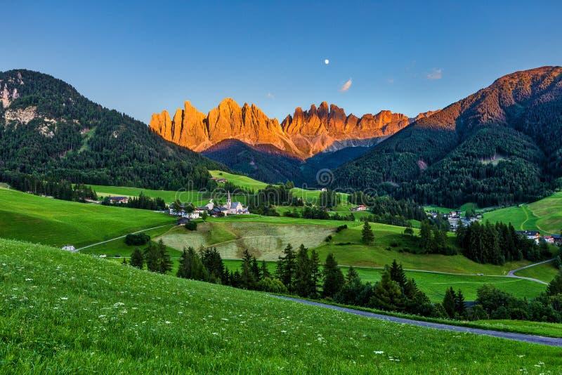 Iconic Dolomites mountain landscape in Santa Maddalena, Funes valley, Italy.  stock image