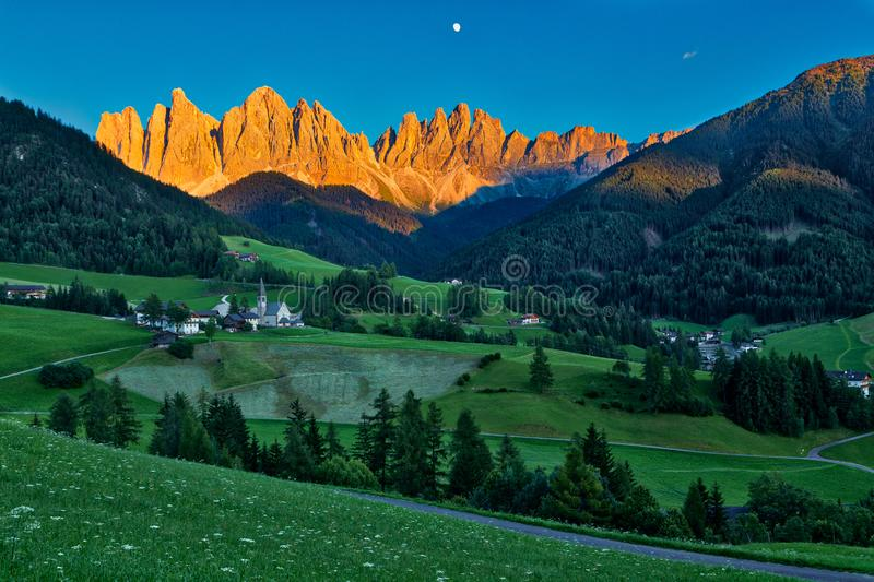 Iconic Dolomites mountain landscape in Santa Maddalena, Funes valley, Italy.  royalty free stock images