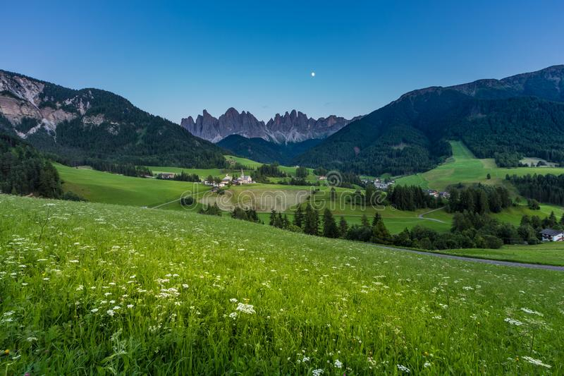 Iconic Dolomites mountain landscape in Santa Maddalena, Funes valley, Italy at night royalty free stock image