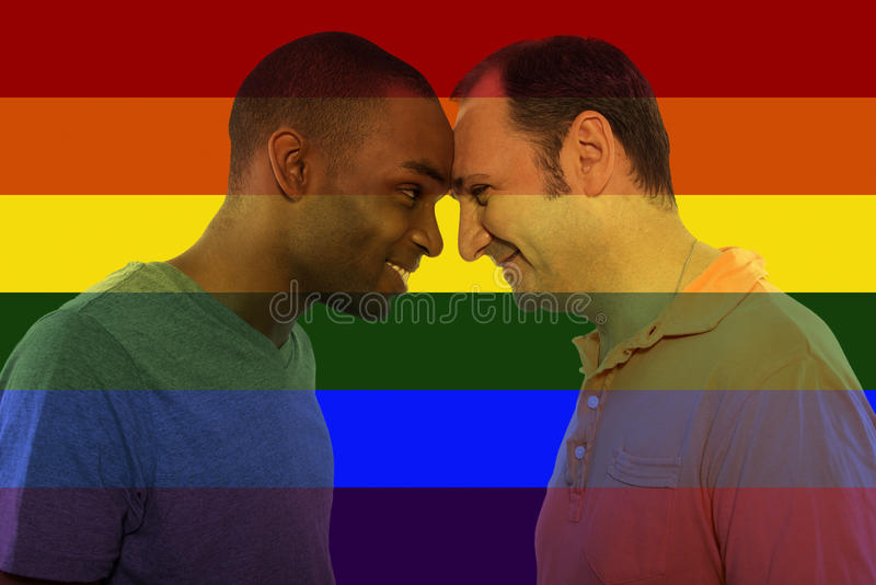 Iconic Gay Image Style. Iconic image style used in social media to celebrate legalization of same-sex marriage stock photography