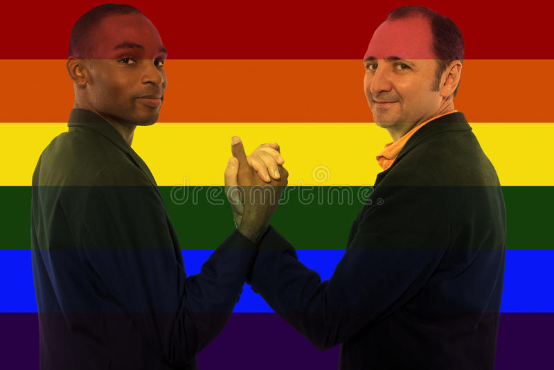 Iconic Gay Image Style. Iconic image style used in social media to celebrate legalization of same-sex marriage stock photo