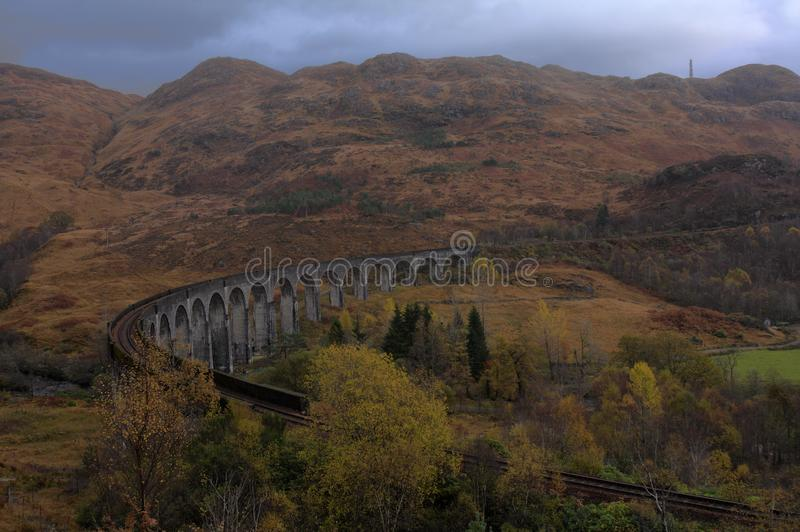 Glenfinnan viaduct in autumn royalty free stock images