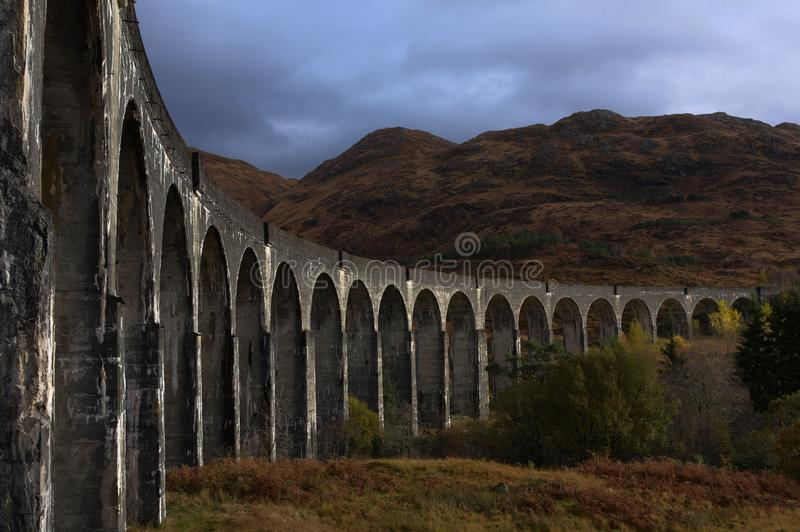 Glenfinnan viaduct in autumn royalty free stock image