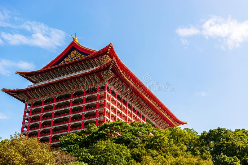Grand Hotel at Yuan Hill in Taipei, Taiwan. The iconic Grand Hotel or Yuanshan Great Hotel located at Yuan Hill in Taipei, Taiwan. Main focus in this photo is stock image