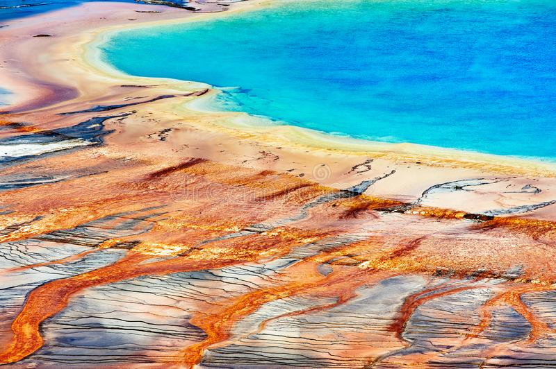 The iconic Grand Prismatic Spring in Yellowstone National Park royalty free stock photo