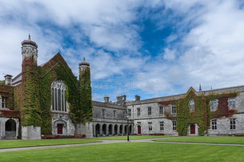 Iconic historic Quadrangle at NUI Galway, Ireland. Galway, Ireland - August 5, 2017: Part of historic Quadrangle on National University of Ireland Campus stock images