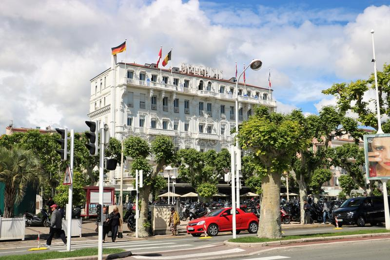 Splendid Hotel in Cannes, France stock images