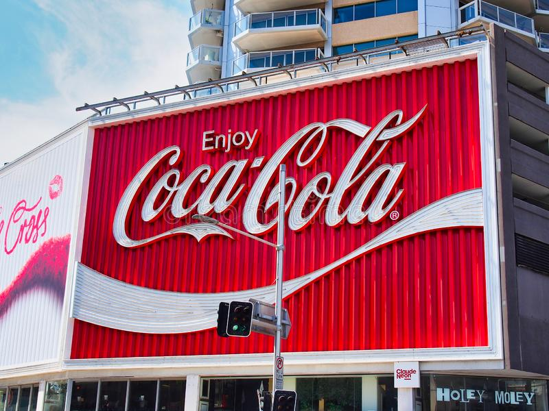 Iconic Coca Cola Billboard, Kings Cross, Sydney, Australia. The iconic historical red and white Coca Cola sign on a very large billboard in Kings Cross, Sydney stock photos