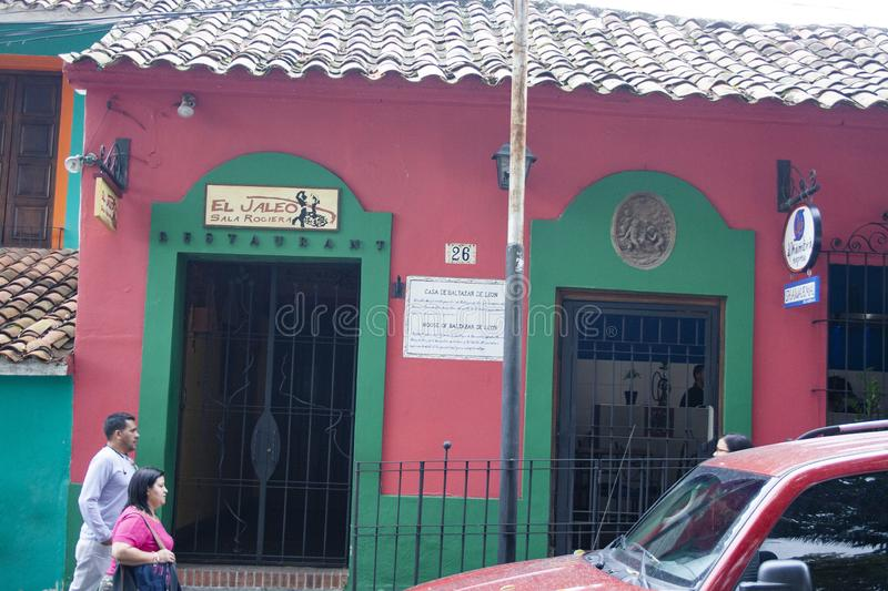 Iconic house of El Hatillo de Baltasar de León, which operates as a commercial establishment for several gastronomic businesses i stock photo