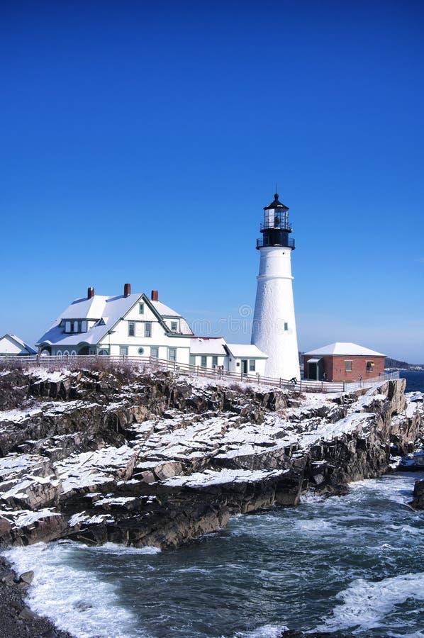 Portland Headlight blue sky winter day stock photography
