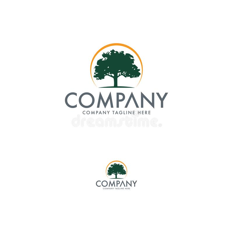 Natural and Tree Logo Design Template royalty free illustration