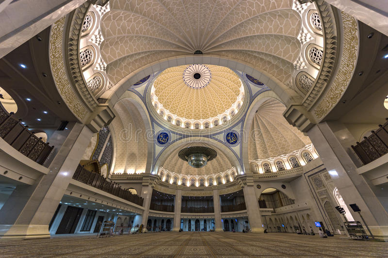 Iconic Malaysian Islamic mosque ceiling stock images