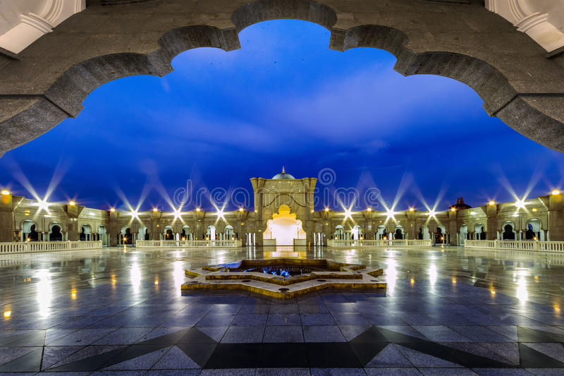 Iconic Malaysian Islamic mosque exit gate royalty free stock photo