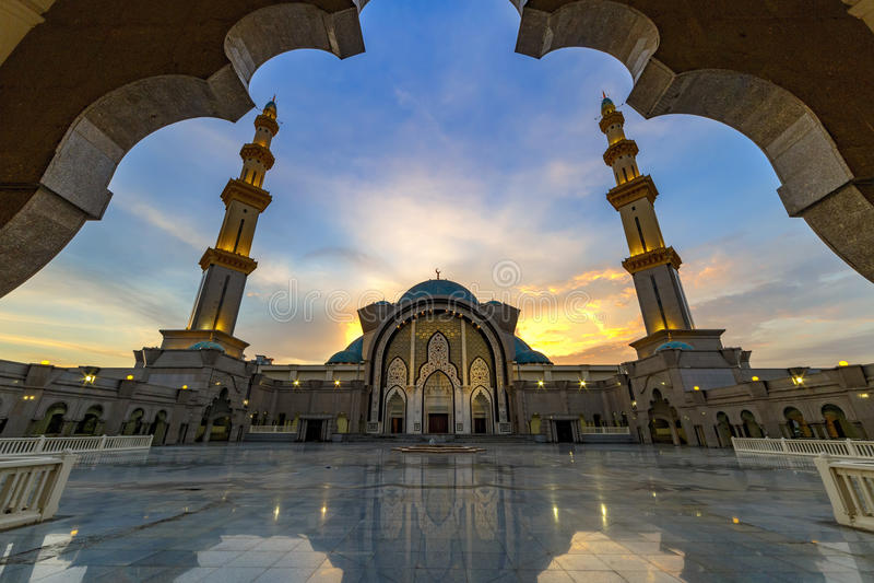 Iconic Malaysian Islamic mosque stock image