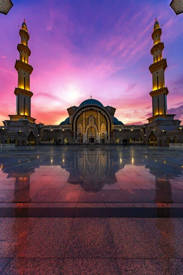 Iconic Malaysian Islamic mosque stock photo