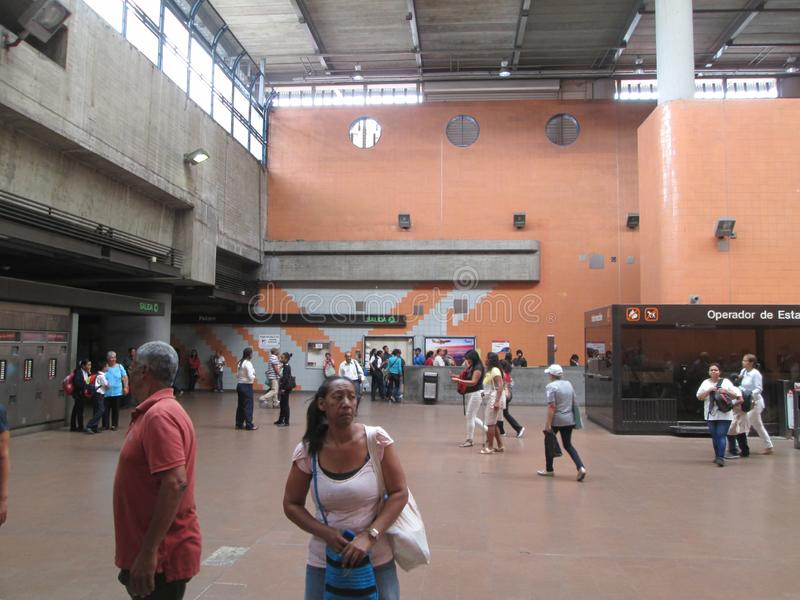 Iconic metro station in the city of Caracas, Metro de Caracas, Petare station, where you can see people in their facilities, Carac. As, Venezuela royalty free stock photos
