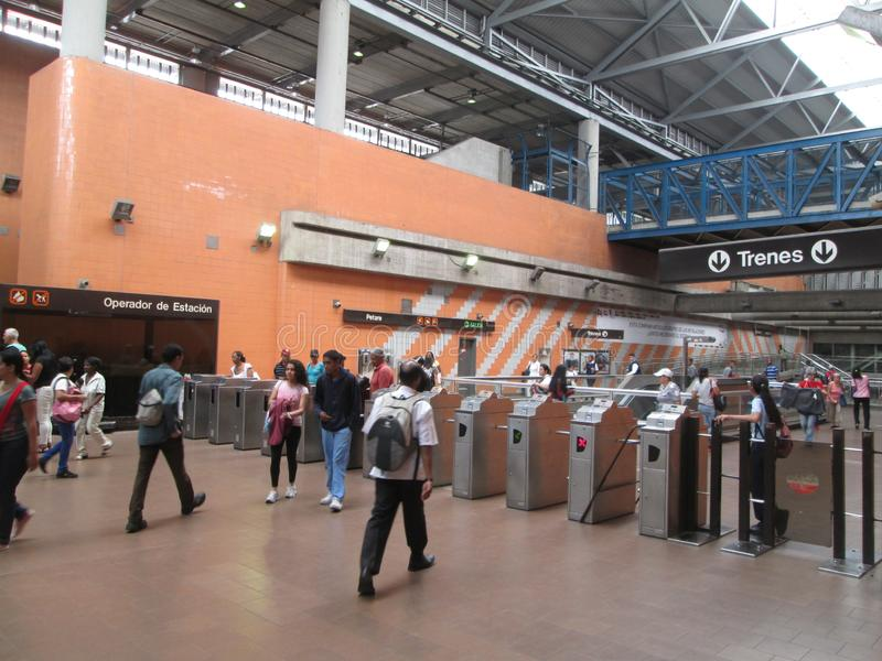 Iconic metro station in the city of Caracas, Metro de Caracas, Petare station, where you can see people in their facilities, Carac. As, Venezuela stock image