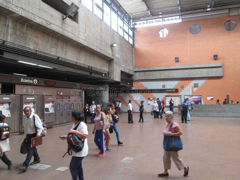 Iconic metro station in the city of Caracas, Metro de Caracas, Petare station, where you can see people in their facilities, Carac. As, Venezuela royalty free stock photography
