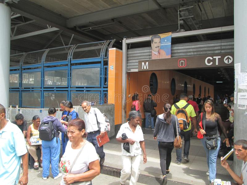 Iconic metro station in the city of Caracas, Metro de Caracas, Petare station, where you can see people in their facilities, Carac. As, Venezuela stock photos