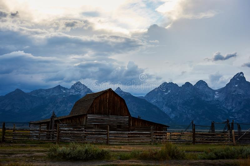 The iconic Moulton Barn in Grand Teton National Park. Landscape, rugged, western, blue, america, mormon, forest, sunrise, sage, summer, wild, nature, mountain stock photo