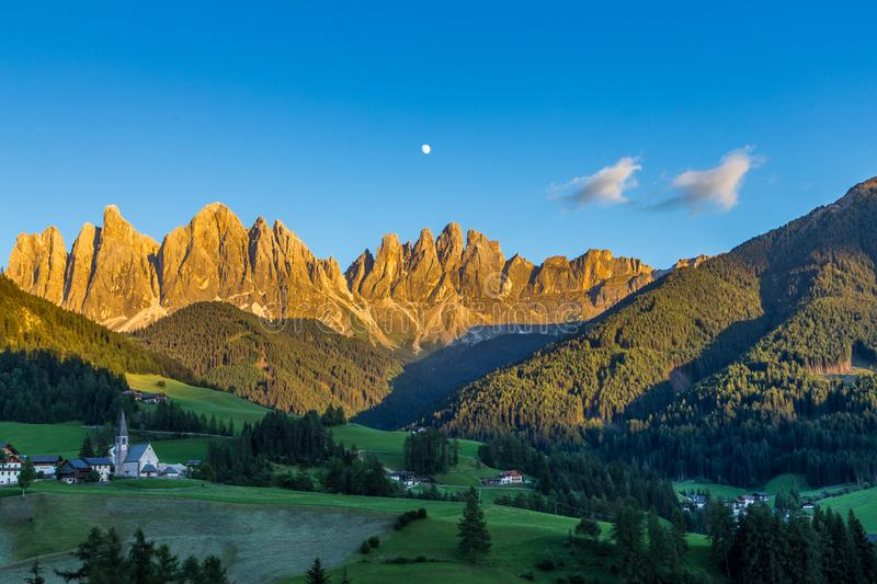 Iconic mountain landscape in Dolomites region, Santa Maddalena in Funes valley, Italy.  stock image