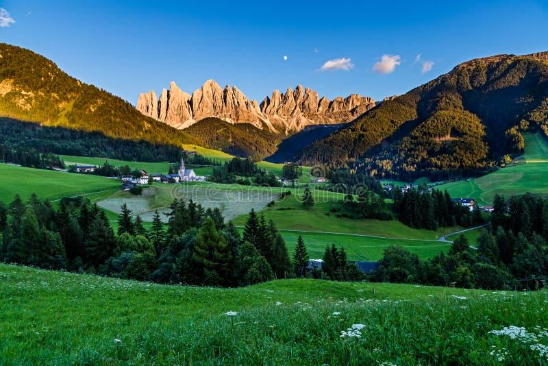 Iconic mountain landscape in Dolomites region, Santa Maddalena. In Funes valley, Italy stock photos