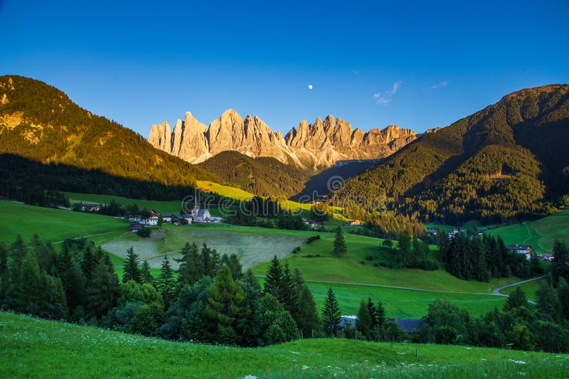 Iconic mountain landscape in Dolomites region, Santa Maddalena. In Funes valley, Italy royalty free stock photography