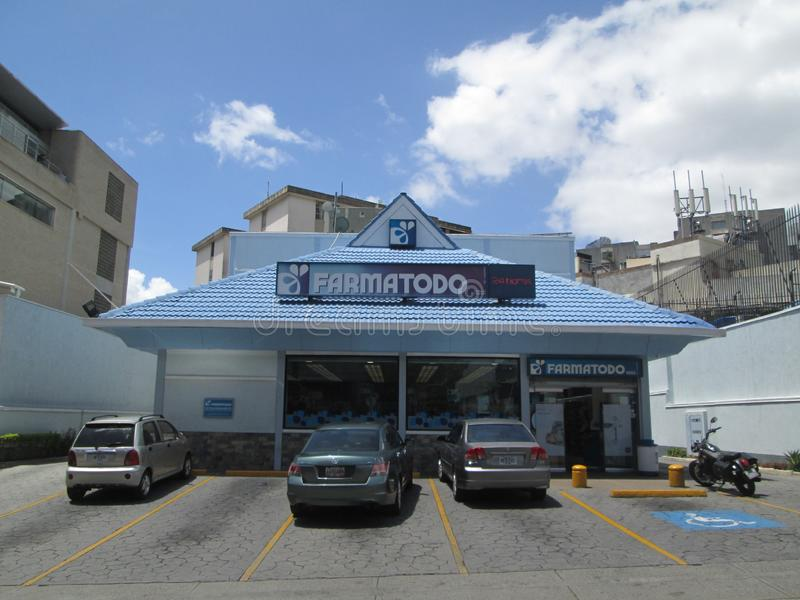 Iconic network of drugstore, called Farmatodo, in the east of the city of Caracas, Caracas, Venezuela.  stock photo